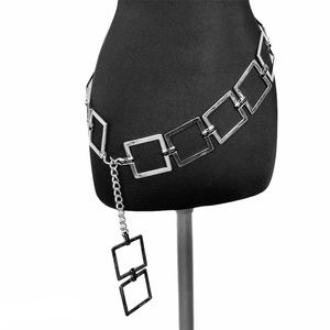 ST JOHN Link Chain Silver Belt with Square Logo